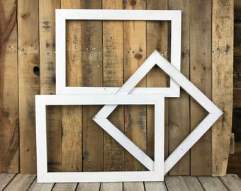 ON SALE - White Picture Frame Set of 3, Rustic Set, 2-11x17, 1-12x12 Photo Frame, Gallery Frame Set, Lot 265