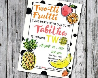 Two-tti Fruitti 2nd Birthday Party Invitation Invite - 5x7 4x6 printable fruit printer ready two year old birthday party