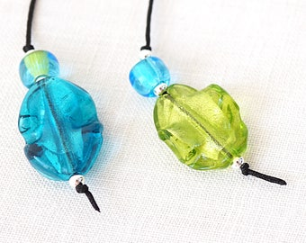 Book Lover Gift Large blue and green Lampwork Beaded Bookmark Thong Gift For Reader Librarian Teacher Gift Bookmark Favor Gardening Gift