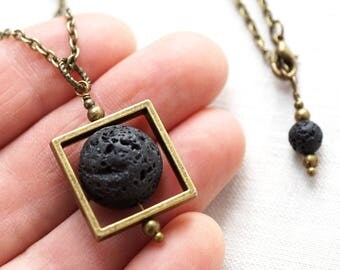 Essential Oil Diffuser Necklace Square Geometric Frame Black Lava Stone Necklace Moon Necklace Boho Raw Stone Ball Steampunk Mens Necklace