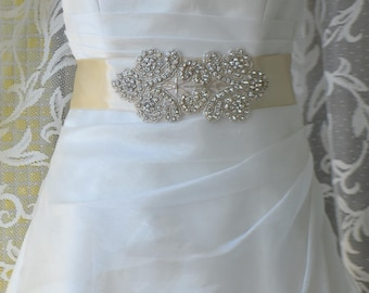 Elegant Sultan Champagne Rhinestone Beaded Wedding Dress Sash Belt