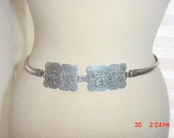 Vintage Silver Tone Metal Belt With Flowers Design  17 - 724