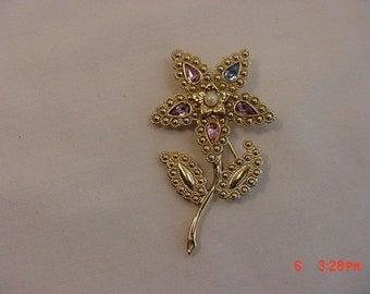 Vintage Rhinestone & Faux Pearl Accented Flower Brooch  18 - 592