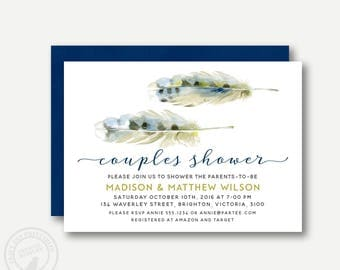 Couples Baby Shower Invitation  | Feather Baby Shower invite | Feather the nest Invite | Printable Baby Shower | Invitation 0557
