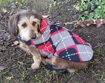 Dog Jacket -  Black Grey and Red Argyle Fleece Dog Coat- Size Medium- 16 to 18  Inch Back Length - Or Custom Size