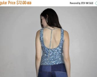 On SALE 45% Off - 1990s Vintage Sequin Silk Pastel Blue Glam Party Tank Top - 90s Sequined Tops - W00780