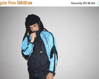 On SALE 35% Off - 1990s Tribal Neon New Balance Blue and Green Colorblock Windbreaker - 90s Clothing - MV0080