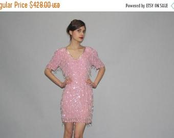 On SALE 35% Off - Vintage 1980s Pastel Pink Silk Beaded Fringe Flapper Sequin Cocktail Dress   - Vintage  Beaded Dresses  - Vintage Sequined