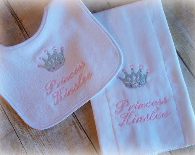 Princess Personalized baby bib and burp set, crown baby bib, princess monogrammed gift, Princess baby gift, baby girl tiara, Princess shower