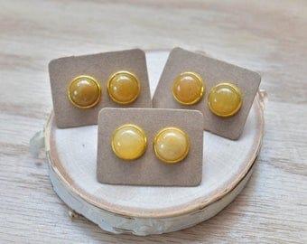 20% EARRING STUD SALE Gold Round Golden Carnelian Bezel 12mm Stud Earrings/ Orange Large Round Cabochon Gold Studs/ Natural Stone Gemstone M