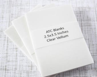 ON SALE ATC Blanks Aceo Blanks Clear Vellum Artist Trading Card Supplies Aceo Supplies Altered Art Mixed Media Scrapbooking 40 count Art Car