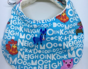 Dribble bib farm animals words