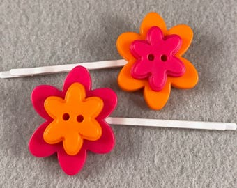 Bright orange and hot pink flower bobby pins, hair pims, hair grips, kirby grips, button