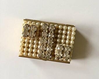 AWAY SALE 20% off vintage pill case - DIAMONDS & Pearls brass trinket box