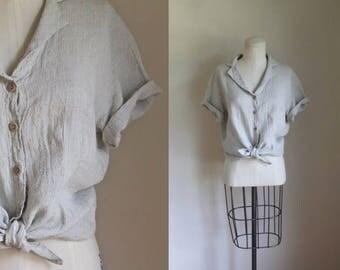 vintage 1990s flax linen shirt - OAT beige button down top / M-L