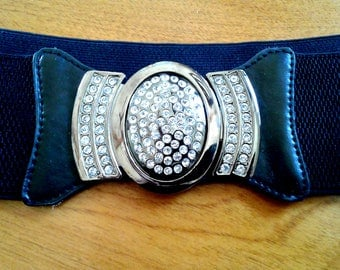 Retro Vintage Elastic Stretch Belt Rhinestone Buckle Adjustable Sizes Beautiful