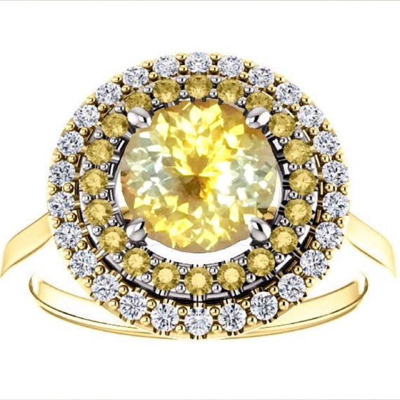 Bi Color Yellow Sapphire Diamond Halo Ring Two Tone Gold Fair Trade Gemstone