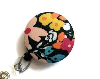 Retractable Badge Holder-Floral-ID Reel-Dark Green