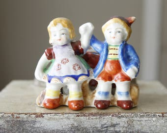 Vintage Planter Occupied Japan, Colorful Boy and Girl Figurines, Small Planter, Blonde Brother and Sister, Mid-century Collectible