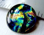 Dichroic Cabochon 27 mm Blue Green Gold Abstract Swirls