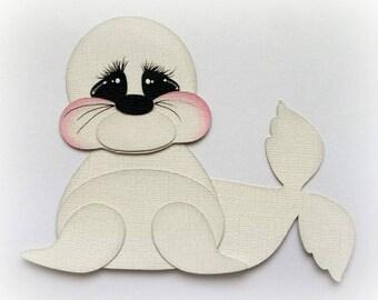 Adorable sea baby walrus animal premade paper piecing 3d die cut by my tear bears kira