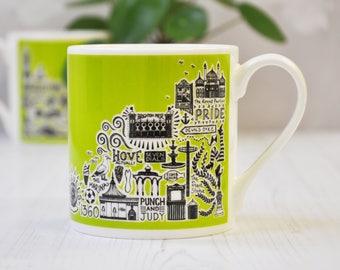 Brighton Mug - Green Brighton Mug - colourful mug - colourful Brighton mug - Brighton gift - Brighton and Hove gift