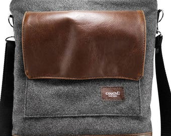 Charcoal Wool and Vegan Leather Satchel
