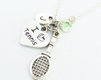 Tennis racket necklace with initial and birthstone-I love tennis initial necklace gift for her-Personalized Jewelry for tennis player