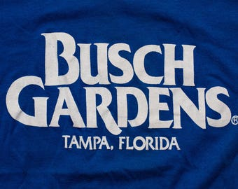 Busch Gardens Logo T-Shirt, Tampa Florida Souvenir Tee, Vintage 80s, Soft & Thin 50/50 Tennessee River Brand, Amusement Park