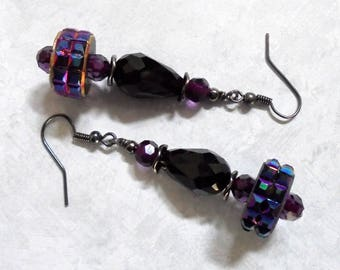 Dark Violet Purple and Black Earrings (3700)
