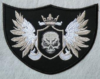 "Winged Skull Shield Iron on  4.56"" x 3.5"""