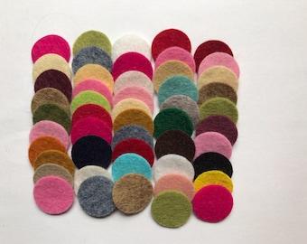 Wool Felt Circles Die Cut 50 - .75 inch Random Colored 4105- DIY Felt - Merino Felt - Arts and Crafts - Hair Clip Supply - Die Cut Felt