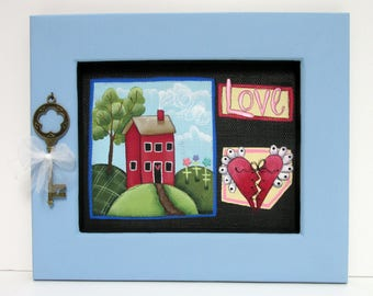 Blue Framed, Folk Art Red House, Love, Red Heart and Key, Framed in Reclaimed Wood, Green Tree, Colorful Flowers, Hand or Tole Painted
