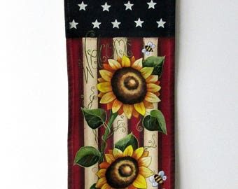 Sunflowers and Bumble Bees, USA Flag Door Hanger,Yellow Sunflowers, Yellow Bumble Bees,Red Lady Bug, Hand Painted, Canvas Flag, Summer Flag