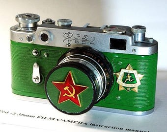 1958! Made in USSR Green FED-2 camera Russian Leica with -=Warrior-athlete=-