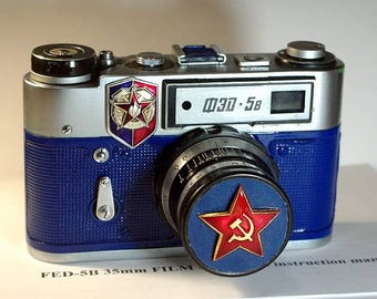 Blue USSR FED-5B camera vintage Russian Leica in box -=Red Star=-