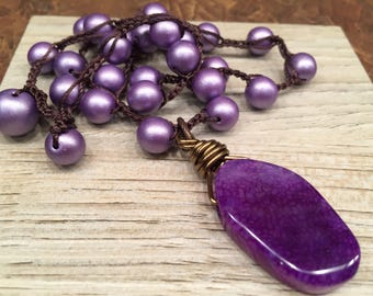 Purple Agate Pendant on Crocheted beaded necklace Statement Jewelry Feminine Fabulous