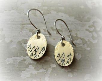 Mountain Earrings, Raw Brass Earrings, Sterling Brass, Stamped Earrings, Mountain Jewelry, Nature Lover, Outdoor Jewelry, Hiker Gift, Rustic