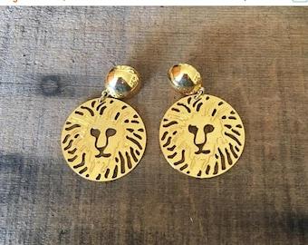 SALE 80s 90s Gold Lion head Statement Pierced Earrings by Anne Klein