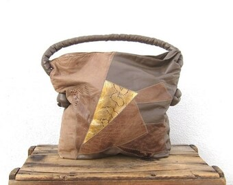 SALE SALE Leather Hobo Purse Patchwork Taupe Beige Leather Large Slouchy