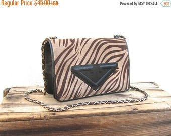 20% Off Sale SALE Vintage Animal Print Suede Bag with Black Leather Trim and Chain Strap