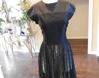 ON SALE NOW 1940s Lace Illusion Dress / Black Lace Cocktail Dress / 1940s Little Black Lace Dress / Size 6