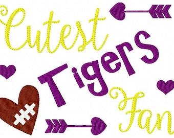 Embroidery Design, Tigers // Football // Cutest Fan //  // Sports Embroidery Design // Bonus Included // Joyful Stitches