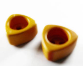 Bakelite Buttons Yellow Triangles