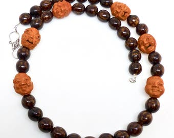 Hand Carved Olive Pit Faces, Seed Pod Bead Necklace SALE