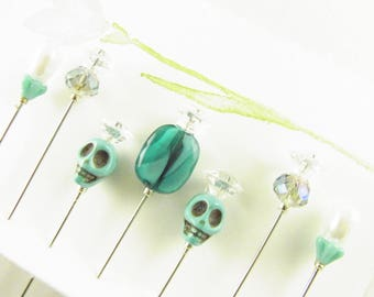 Decorative Sewing Pins Day of the Dead Skulls with Glass Gems