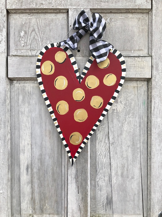 Valentine's Day, Heart door hanger, polka dot heart door hanger, gold, whimsical heart, Valentine's Day decor,  spring door hanger