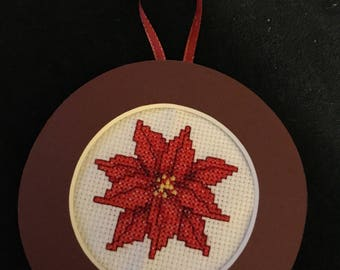 Pointsettia Cross Stitch Ornament