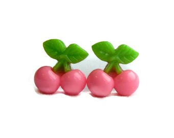 Light Pink Cherry Earrings, Retro 40s, 50s Resin Fruit Jewelry - Rockabilly, Pinup, Vintage Style