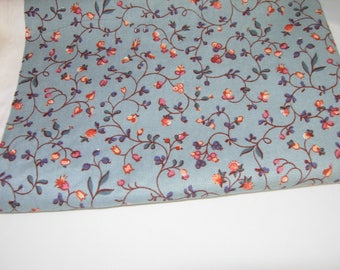 Cotton Slate Blue Small Floral Fabric, 1 Yard